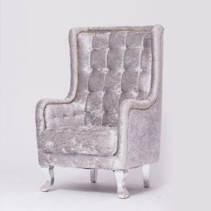 Silver Velvet Tufted Chair